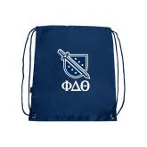 Nylon Navy Drawstring Backpack-Stacked Shield/Phi Delta Theta Symbols
