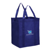 Non Woven Navy Grocery Tote-Stacked Shield/Phi Delta Theta