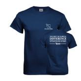 Navy T Shirt-Stacked Shield/Phi Delta Theta