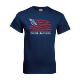 Navy T Shirt-Phi Delta Theta Flag Design