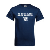 Navy T Shirt-To Our Colors White and Blue