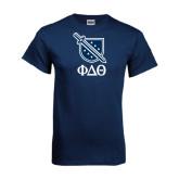 Navy T Shirt-Stacked Shield/Phi Delta Theta Symbols