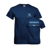 Navy T Shirt-Stacked Shield/Phi Delta Theta