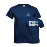 Navy T Shirt-Stacked Shield/Phi Delta Theta, Stand on the Shoulders of Giants