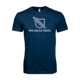 Next Level SoftStyle Navy T Shirt-Stacked Shield/Phi Delta Theta