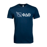Next Level SoftStyle Navy T Shirt-Shield/Phi Delta Theta Symbols