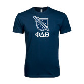 Next Level SoftStyle Navy T Shirt-Stacked Shield/Phi Delta Theta Symbols