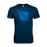 Next Level SoftStyle Navy T Shirt-Sword and Shield