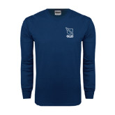 Navy Long Sleeve T Shirt-Stacked Shield/Phi Delta Theta Symbols