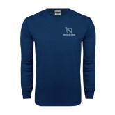 Navy Long Sleeve T Shirt-Stacked Shield/Phi Delta Theta