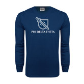 Navy Long Sleeve T Shirt-Stacked Shield/Phi Delta Theta