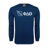 Navy Long Sleeve T Shirt-Shield/Phi Delta Theta Symbols