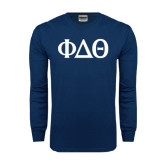 Navy Long Sleeve T Shirt-Phi Delta Theta Symbols