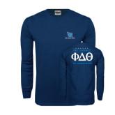 Navy Long Sleeve T Shirt-Stacked Shield/Phi Delta Theta, The Journey