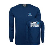 Navy Long Sleeve T Shirt-Stacked Shield/Phi Delta Theta, Stand on the Shoulders of Giants