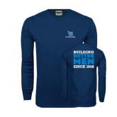 Navy Long Sleeve T Shirt-Stacked Shield/Phi Delta Theta, Building Better Men Since 1848
