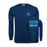 Navy Long Sleeve T Shirt-Stacked Shield/Phi Delta Theta, Great Challenges Make Great Men