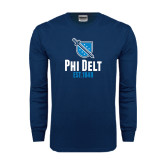 Navy Long Sleeve T Shirt-Phi Delt Est 1848