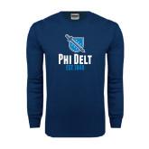 Navy Long Sleeve T Shirt-Phi Delt Est 1848