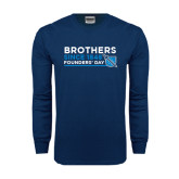 Navy Long Sleeve T Shirt-Brothers/Founders Day