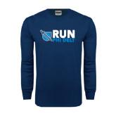 Navy Long Sleeve T Shirt-Run Phi Delt