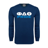 Navy Long Sleeve T Shirt-Phi Delta Theta Pride
