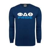 Navy Long Sleeve T Shirt-Phi Delta Theta Pride
