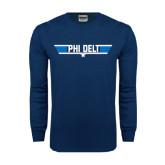 Navy Long Sleeve T Shirt-Phi Delt Star & Stripes