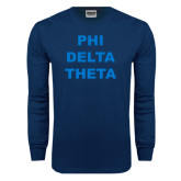 Navy Long Sleeve T Shirt-Phi Delta Theta Stacked