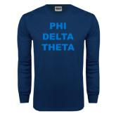 Navy Long Sleeve T Shirt-Phi Delta Theta Stacked