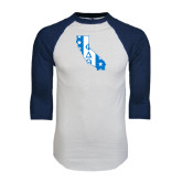 White/Navy Raglan Baseball T-Shirt-California