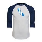 White/Navy Raglan Baseball T-Shirt-California