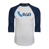 White/Navy Raglan Baseball T-Shirt-California w/ Greek Letters