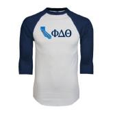 White/Navy Raglan Baseball T-Shirt-California w/ Greek Letters