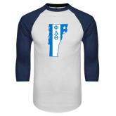White/Navy Raglan Baseball T-Shirt-Vermont