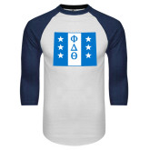 White/Navy Raglan Baseball T-Shirt-Wyoming