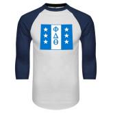 White/Navy Raglan Baseball T-Shirt-Wyoming