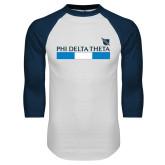White/Navy Raglan Baseball T Shirt-Phi Delta Theta Bar w/ Logo