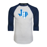 White/Navy Raglan Baseball T-Shirt-Texas