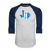 White/Navy Raglan Baseball T-Shirt-Texas