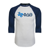 White/Navy Raglan Baseball T-Shirt-Texas w/ Greek Letters