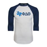 White/Navy Raglan Baseball T-Shirt-Texas w/ Greek Letters