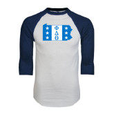 White/Navy Raglan Baseball T-Shirt-Pennsylvania