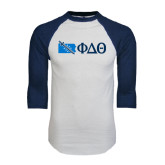 White/Navy Raglan Baseball T-Shirt-Pennsylvania w/ Greek Letters