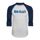 White/Navy Raglan Baseball T-Shirt-Pennsylvania w/ Greek Letters