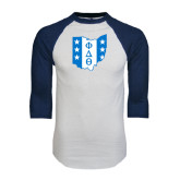 White/Navy Raglan Baseball T-Shirt-Ohio