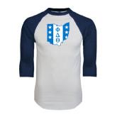White/Navy Raglan Baseball T-Shirt-Ohio
