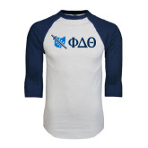 White/Navy Raglan Baseball T-Shirt-Ohio w/ Greek Letters