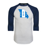 White/Navy Raglan Baseball T-Shirt-Missouri