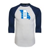 White/Navy Raglan Baseball T-Shirt-Missouri